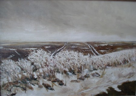 Morning Ice at Rapson and Klug Rds., oil on board