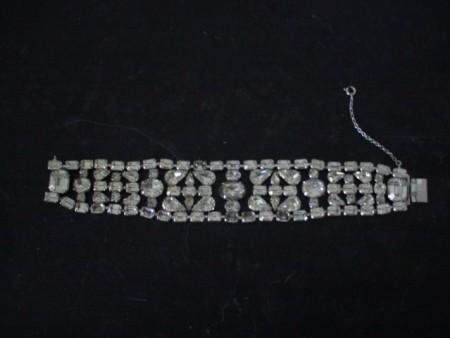 Eisenberg Rhinestone Bracelet, vintage, wide-large bracelet