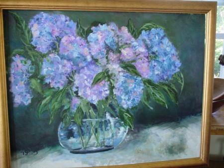 Hydrangeas, Oil on Board,artist Joanne Getz