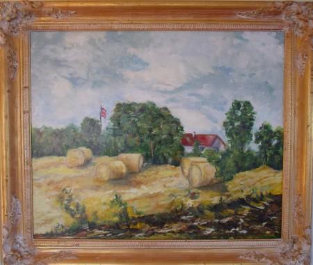An American Farm, oil on board, artist Joanne Getz