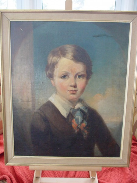 Oil Portrait of a young boy, antique oil