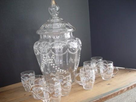 Victorian Punch Bowl, lid, glasses, Moser, enameled design