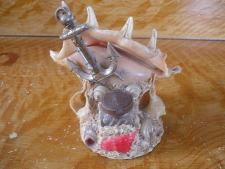 Folk Art, Sailors Valentine, Shell Work, Maritime Souvenir, Inkwell w/ anchor, artjmg