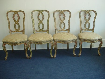 4 Country French hand painted chairs, Roses