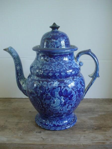 American Historic Staffordshire,Coffeepot,Dark Blue floral c.1825