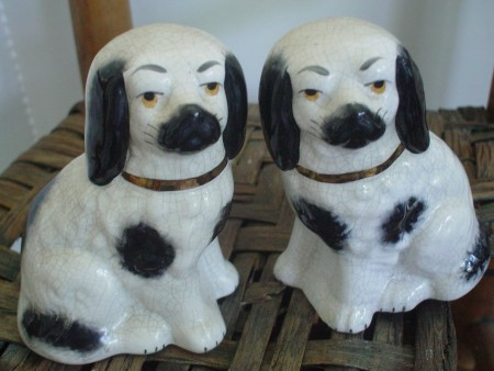 Pair of Mini Staffordshire Dogs