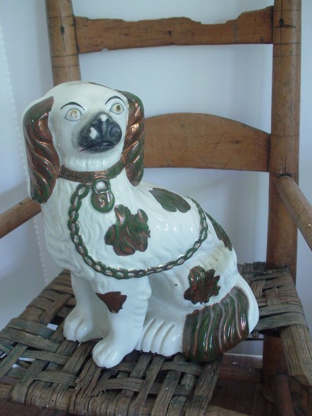 copper luster English staffordshire dog