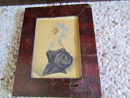 Miniature Watercolor Portrait, Folk Art