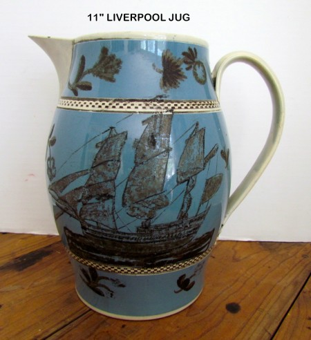 Fabulous Pearlware, Mocha Liverpool Jug with Ship Decoration