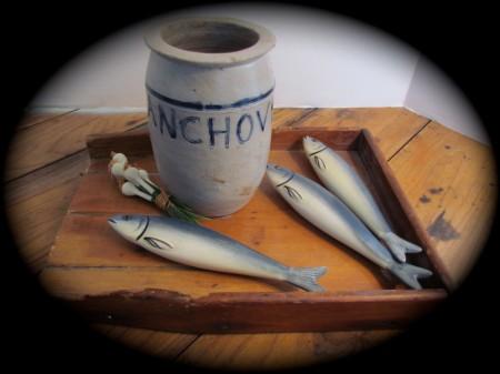 "Rare ""Anchovies"" Salt Glazed Stoneware, Cobalt Jar"