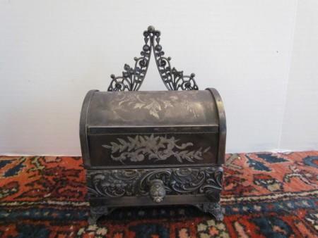 Mechanical Jewelry Casket, Meriden silverplate