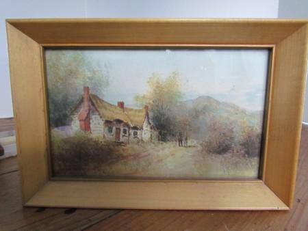 Listed Artist F. Turner, Watercolor, Cottage Secene