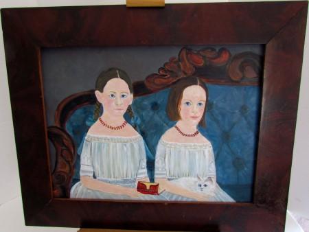 "Contemporary Folk Art Portrait, ""The Sisters"""
