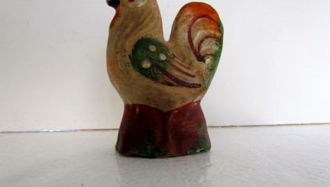 19th. century Chalkware Rooster with the best Polychrome paint