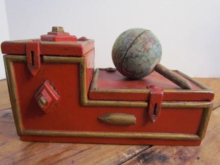 Early 20th. century Small Desk Tin Globe, Hand Held Tin Globe