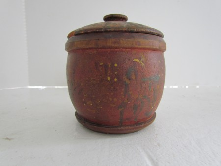A Wonderful Treen Sugar Canister/Bowl in original Paint Decoration