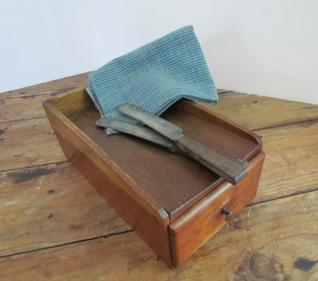 19th. century Cherry Wood Unusual Scrub Box/ Has a Drawer