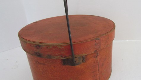 19th. century Orange Painted Bail Handle Pantry Box