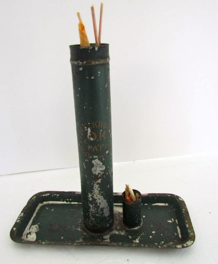 19th. century FireKindler, Spill holder, Tin dated and stenciled