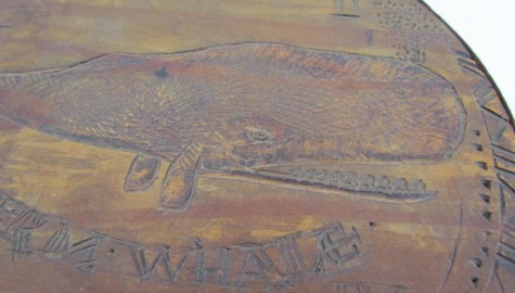 Fabulous 19th. century Folk Art Whale Baleen Pantry Box with love verse–Sailor Made