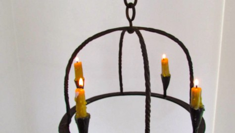 18th. Century Four Candle Wrought Iron Chandelier, a New Hampshire original