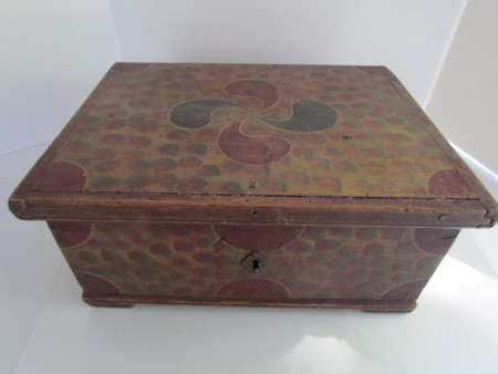 COLONIAL PERIOD ,PAINT DECORATED BIBLE BOX, ORIG.HINGES LOCK ,KEY  Pre-1800