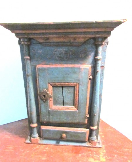 18th. century Scandinavian Wall Cupboard, Blue/Salmon Paint and Dated 1762