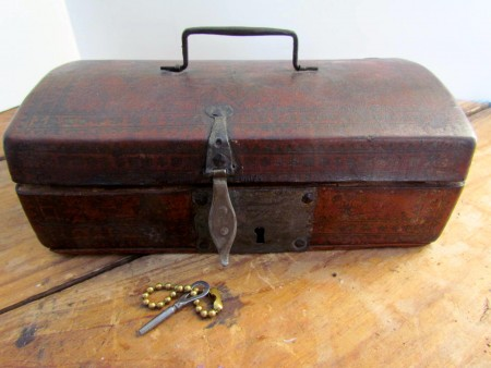 Unusual 18th. century Small Leather Covered Document Box