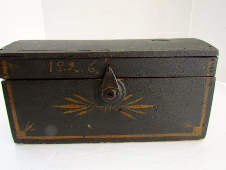 Early 19th. century Dome Top Box, Original Paint and Dated 1826