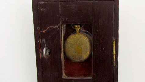 18TH CENTURY HANGING WATCH HUTCH, original paint