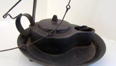 Rare 18th. century Iron Betty Lamp w/Drip Tray, set on Three Small Feet