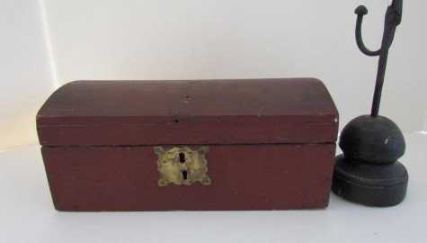 EARLY 19TH CENTURY PORTLAND, MAINE DOME TOPPED DOCUMENT BOX  ORIGINAL  DARK RED PAINT