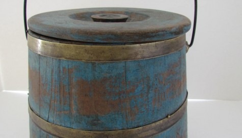 Fine 19th. century SugarBucket in Original Blue Paint, Richmond, Va.