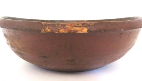 FABULOUS EARLY 19TH CENTURY HUGE PAINTED DOUGH BOWL
