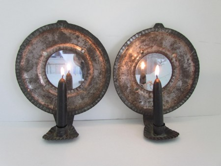 Pair of Diminutive Mirrored Wall Sconces, mid 19th. c.