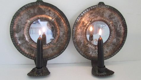 Pair of Diminutive Mirrored Wall Sconces