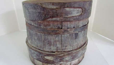 Early 19th. century Woven Lap Banded Barrel with Lid