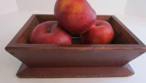 Extraordinary Small Original Red Painted Apple Tray/Box