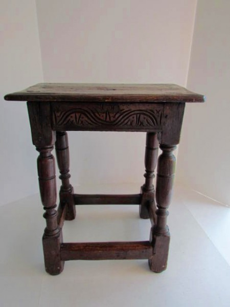 17th. Century Joint Stool, Red Oak