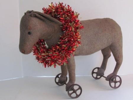 pre-1904 Steiff pull toy donkey on wheels all original