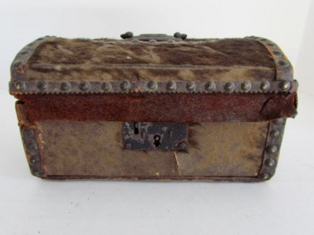 Wonderful Small Size, Hide Covered Documtent Box