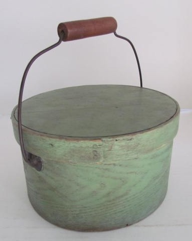 Nice, 19th. century, Small, Green Painted Bail Handle Pantry