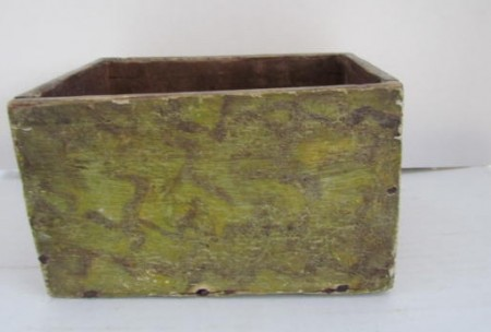 18th. Century, Open Top Candle Box, Yellow/Black Painted Surface