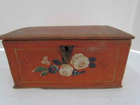 18th. century Folk Art Painted Document Box