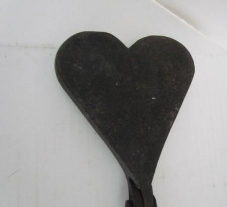 Early 19th. century Iron Heart Shaped Waffle Iron