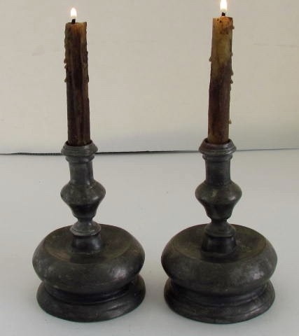 17th. century Low Country Pewter Candle Sticks