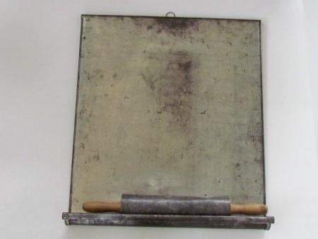 Fabulous 19th. century Tin Rolling Pin with Tin Board