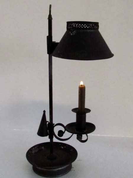Rare Antique 19thC Tin Toleware Candlestick Lamp & Snuffer/Student Lamp