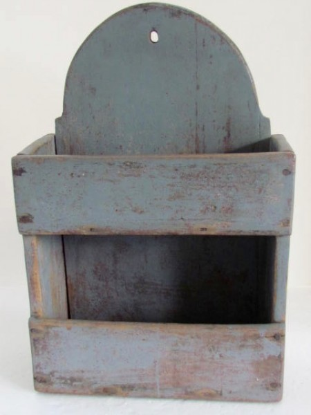 19th. Century Two Tiered Wall Box with the best Blue Paint