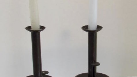 PAIR OF LATE 18TH OR EARLY 19TH CENTURY MID DRIP, SAND WEIGHTED  CANDLESTICKS